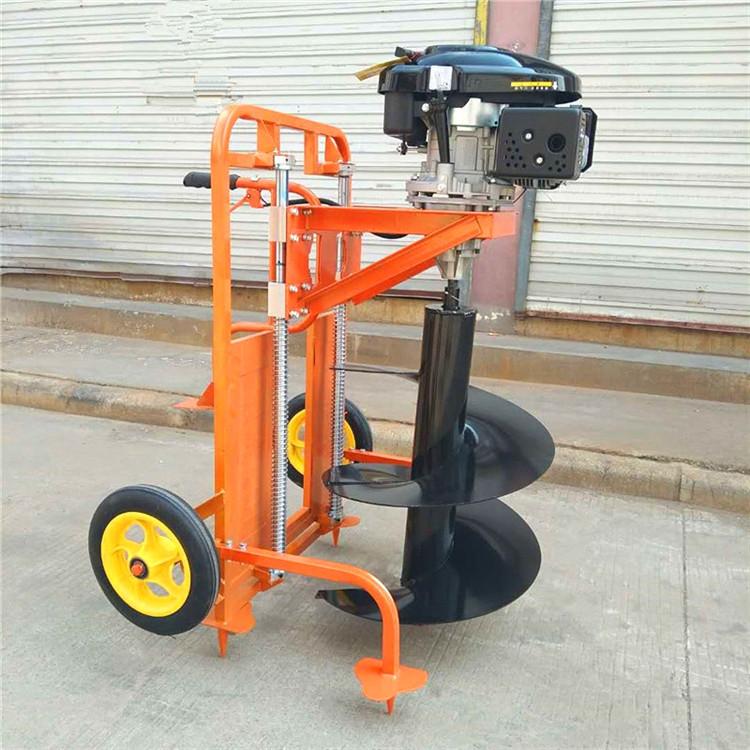 弘瑞手推便携式汽油挖坑机 196四冲程大功率地钻挖坑机 一人就可操作电话议价
