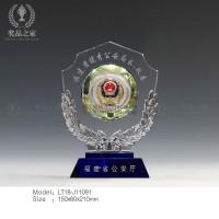 公安警察退休礼品,从警10/20/30周年纪念品,水晶奖盘