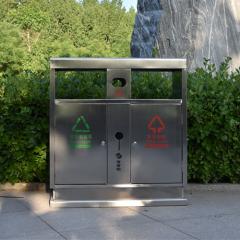 环卫不锈钢双桶分类垃圾箱 定制销售