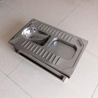 成都不锈钢旱厕蹲便器 脚踏开闭不锈钢免冲蹲便器