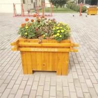 献县瑞达简约户外商业街道花箱碳化实木花盆厂家定制